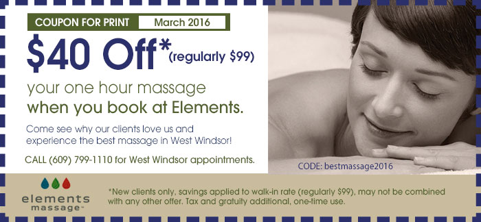 West Windsor Elements Massage Coupon