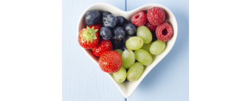 image of fruit in a heart-shaped bowl