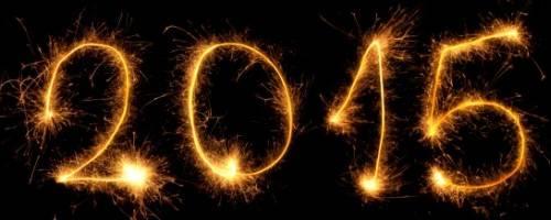 2015 written in fireworks in the sky