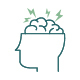 head outline icon with brain