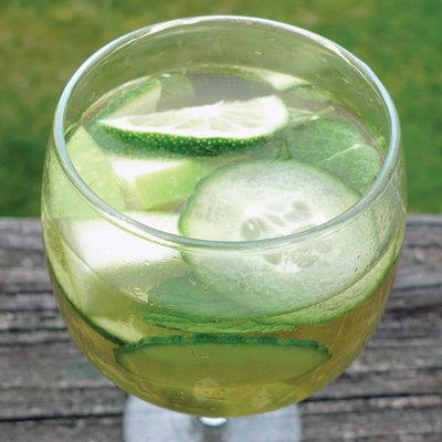 green sangria with cucumbers in it