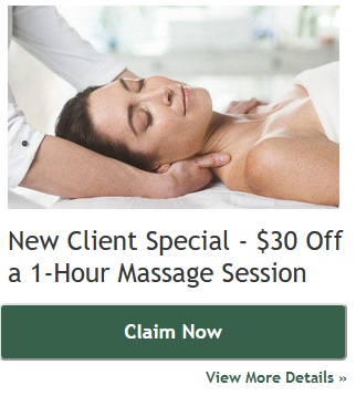New Client Special. $30 off 1 hour massage session. View details and claim now.