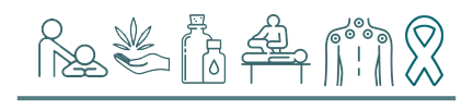 massage icons of massage, health, aromatherapy oils, stretching, trigger point and a ribbon