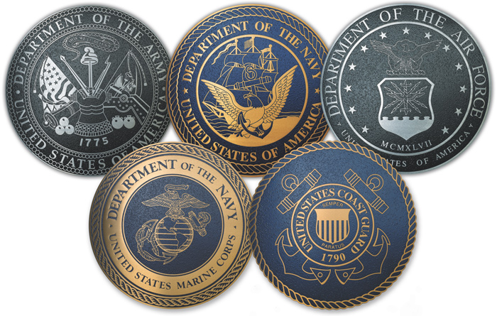 military seals for all 5 branches of military