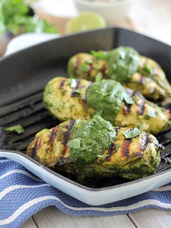 salsa verde chicken on the grill