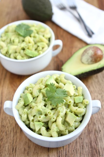 two bowls of avocado mac and cheese