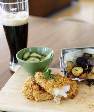 corn flake crusted fish and chips