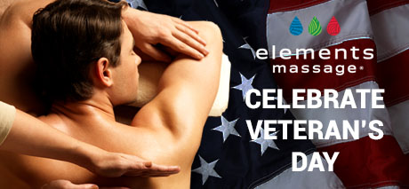 For ANY massage service ($69 or greater), Elements Massage of White Plains will donate $10 off the price on November 11th and 12th in honor of our veterans for Veterans' Day!