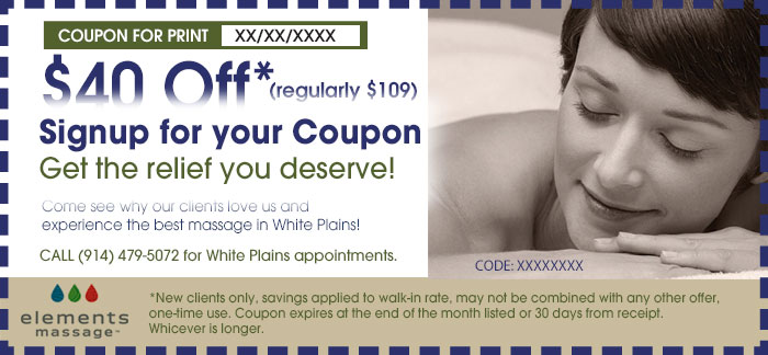 elements massage, white plains massage coupon